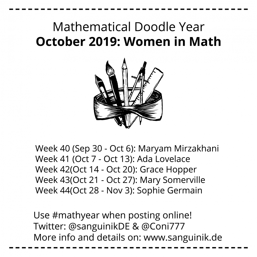 Week 40: Maryam Mirzakhani Week 41: Ada Lovelace Week 42: Grace Hopper Week 43: Mary Somerville Week 44: Sophie Germain