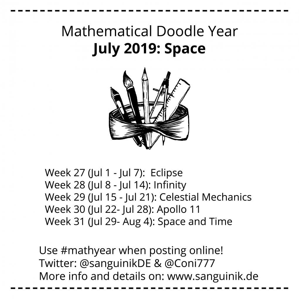 Mathematical Doodle Year July 2019: Week 27 (July 1 to July 7): Eclipse Week 28 (July 8 to July 14): Infinity Week 29 (July 15 to July 21): Celestial Mechanics Week 30 (July 22 to July 28): Apollo 11 Week 31 (July 29 to August 4): Space and Time