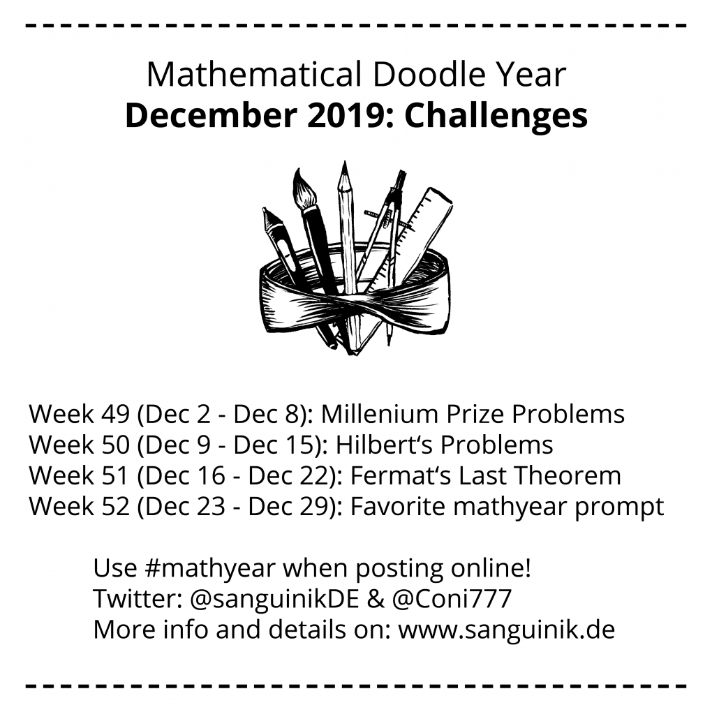 Mathyear December 2019: Challenges Week 49: Millenium Prize Problems Week 50: Hilbert's Problems Week 51: Fermat's Last Theorem Week 52: Favorite mathyear prompt